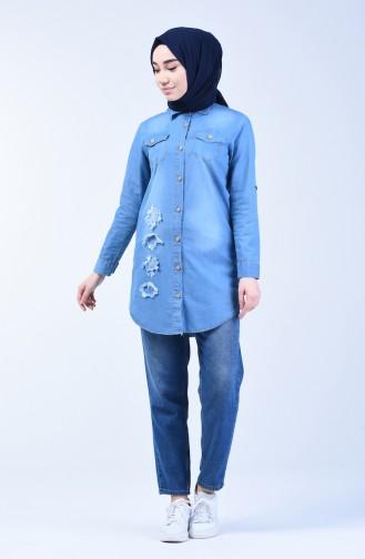 Jeans Hemd mit Tasche 3016-01 Jeans Blau 3016-01