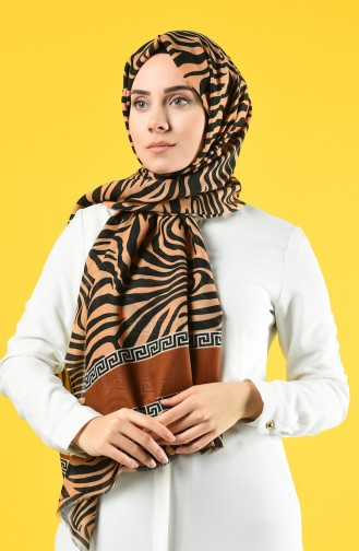 Elmina Patterned Cotton Shawl 660-103 Mustard Black 660-103