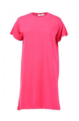 Basic Uzun Tshirt 8131-09 Fuşya