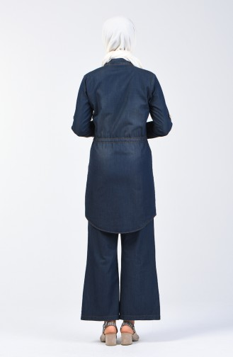 Pearled Denim Tunic Trousers Double Suit 3008-03 Navy Blue 3008-03