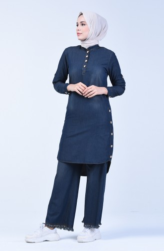 Button Detailed Tunic Trousers Double Suit 3010-03 Dark Navy Blue 3010-03