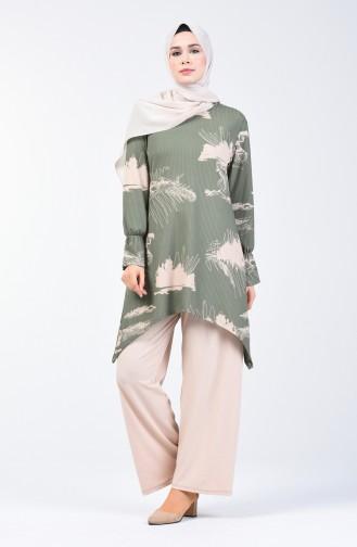Desenli Tunik Pantolon İkili Takım 1434-01 Çağla Yeşili 1434-01