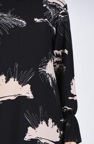 Desenli Tunik Pantolon İkili Takım 1434-03 Siyah