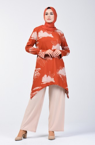 Patterned Tunic Trousers Double Suit 1434-04 Brick Red 1434-04