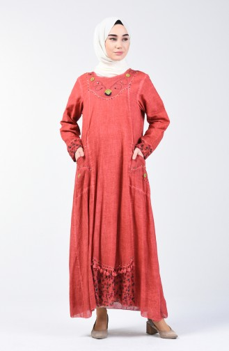 Şile Cloth Beaded Dress 9090-04 Tile 9090-04