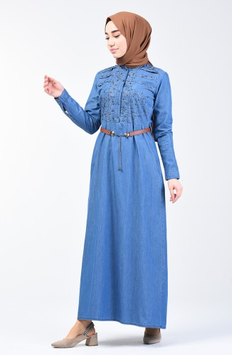 Stone Printed Belted Denim Dress 9283-01 Jeans Blue 9283-01