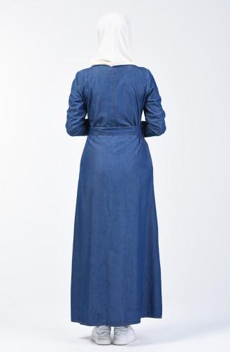 Navy Blue İslamitische Jurk 9284-01