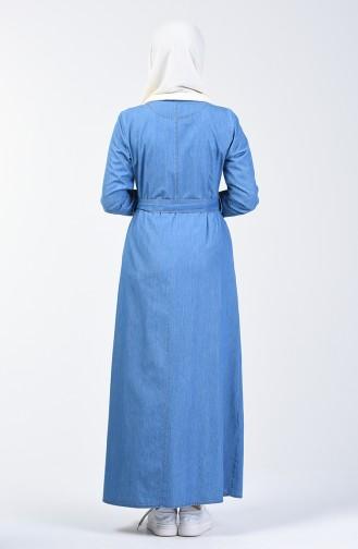 Belted Denim Dress 9284-02 Jeans Blue 9284-02