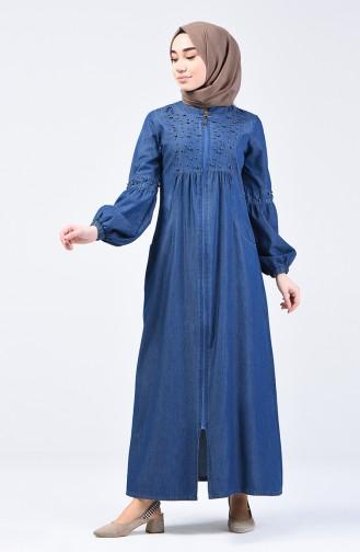 Pearled Denim Abaya 9285-01 Navy Blue 9285-01