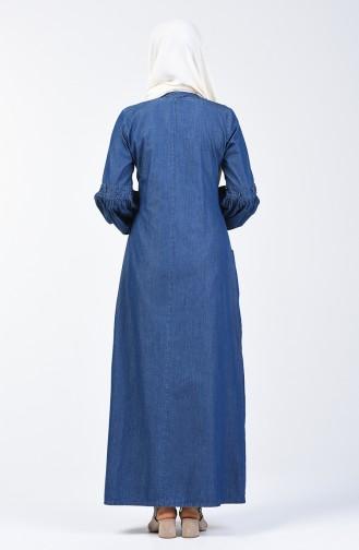 Perlen Jeans Kleid 9285-01 Dunkelblau 9285-01