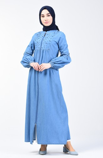 Pearled Denim Abaya 9285-02 Jeans Blue 9285-02