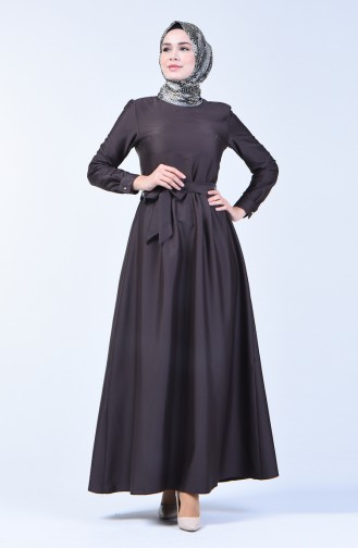 Pleated Belted Dress 60107-02 Dark Brown 60107-02