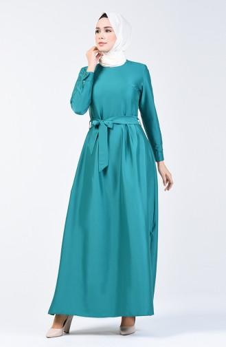 Pileli Kuşaklı Elbise 60107-03 Zümrüt Yeşili
