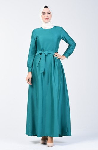 Pleated Belted Dress 60107-03 Emerald Green 60107-03