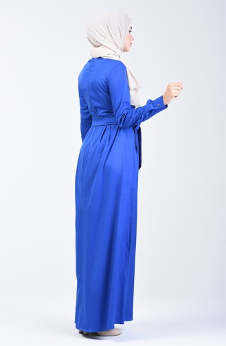 Pleated Belted Dress 60107-04 Saxe 60107-04