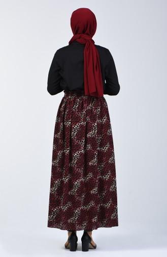 Elastic Waist Patterned Skirt Bordeaux 2012-02
