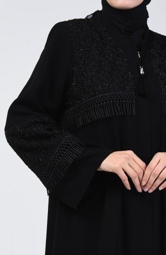 Lace Detailed Evening Dress Abaya 2021-01 Black 2021-01