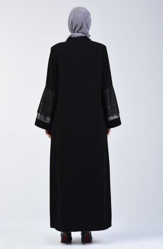 Dantelli Garnili Abiye Ferace 2020-01 Siyah