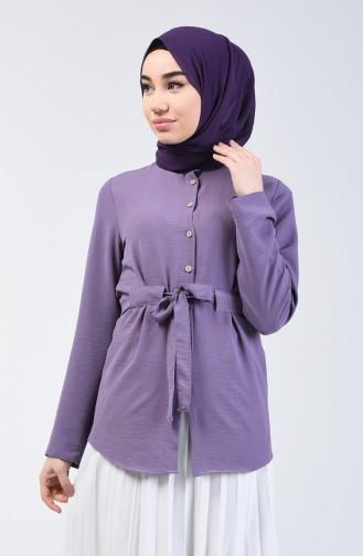Aerobin Fabric Belted Shirt 1425-01 Lilac 1425-01