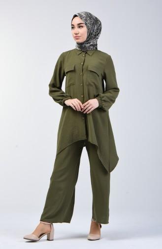 Ensemble Deux Pieces Tunique Pantalon Tissu Aerobin 6329-15 Khaki 6329-15