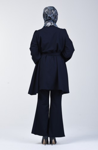 Kuşaklı Tunik Pantolon İkili Takım 0218-21 Lacivert