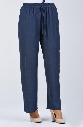Beli Bağcıklı Pantolon 5296-01 Mavi