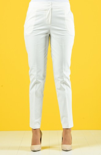 Classic Trousers with Pocket 1117-03 Ecru 1117-03