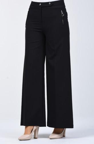 Pocket Detailed Wide Leg Trousers 3161-01 Black 3161-01