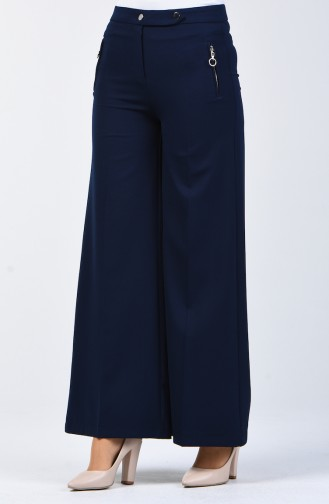 Pocket Detailed Wide Leg Trousers 3161-02 Nayv Blue 3161-02
