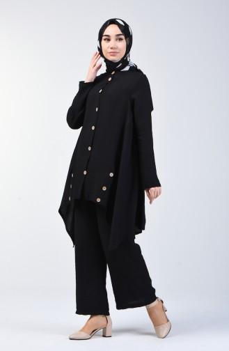 Aerobin Fabric Asymmetric Tunic Trousers Double Suit 6630-03 Black 6630-03