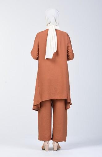 Aerobin Fabric Asymmetric Tunic Trousers Double Suit 6630-04 Tobacco 6630-04