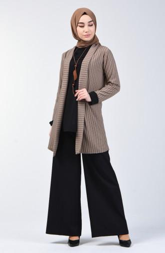 Necklace Blouse Jacket Double Set 1424-02 Black Mink 1424-02