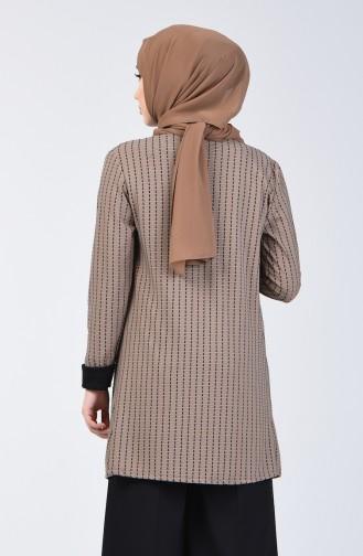 Bluse Jacke Zweier Anzug mit Halskette 1424-02 Schwarz Nerz 1424-02