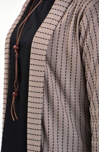 Ensemble Deux Pieces Blouse Veste Avec Collier 1424-02 Noir Vison 1424-02