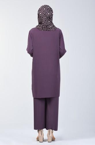 Piliseli Tunik Pantolon İkili Takım 5219-13 Lila