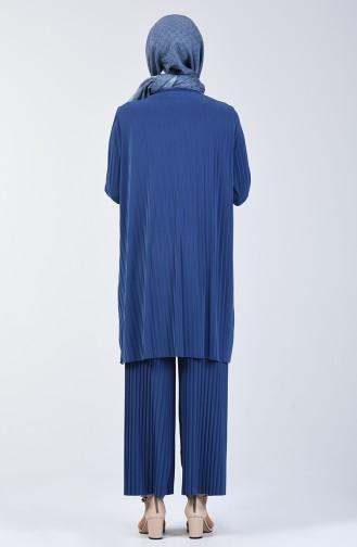 Piliseli Tunik Pantolon İkili Takım 5219-14 İndigo