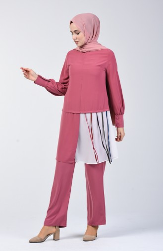 Garnished Tunic Trousers Double Suit 1730-02 Dry Rose 1730-02
