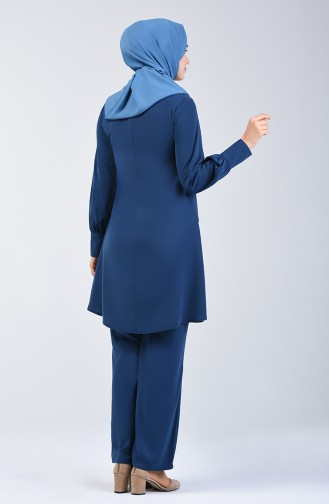Ensemble Deux Pieces Tunique Pantalon Garni  1730-03 İndigo 1730-03