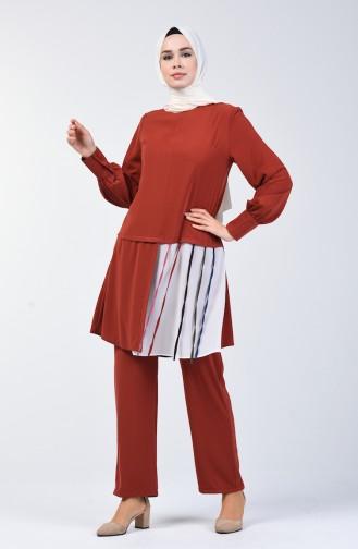 Garnili Tunik Pantolon İkili Takım 1730-04 Kiremit