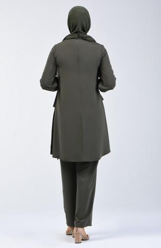 Fabric Garni Tunic & Pants Two-pieces Suit 1730-05 Khaki 1730-05