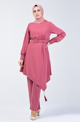 Belted Tunic & Pants Two-pieces Suit  1731-01 Rose Dry 1731-01
