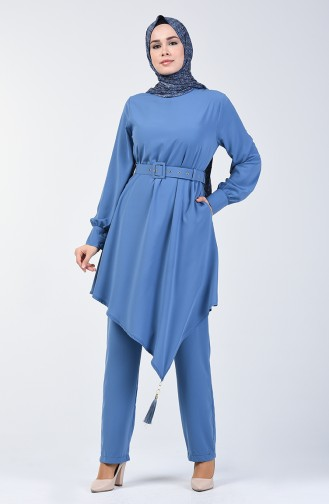 Belted Tunic & Pants Two-pieces Suit 1731-02 İndigo 1731-02