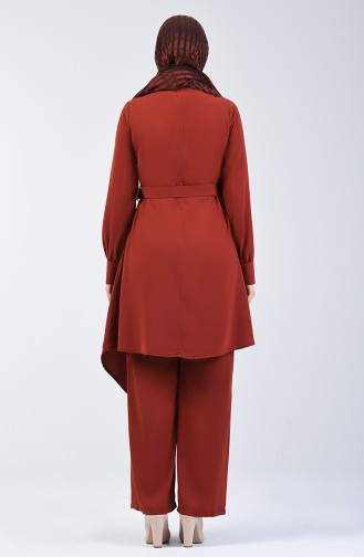 Belted Tunic & Pants Two-pieces Suit 1731-03 Tile 1731-03