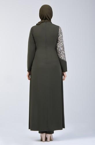 Sequin Detailed Two-pieces Suit 1733-04 Khaki 1733-04