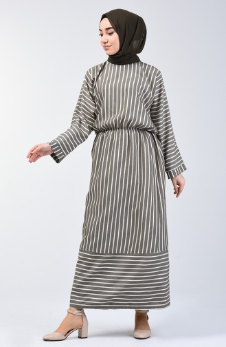 Çizgili Yarasa Kol Elbise 1040-01 Koyu Haki 1040-01