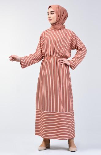 Çizgili Yarasa Kol Elbise 1040-03 Kiremit