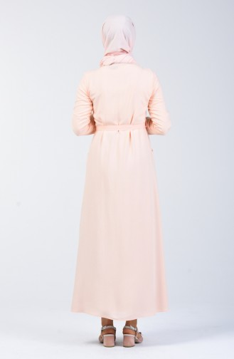 Embroidered Belted Dress 90026-01 Salmon 90026-01