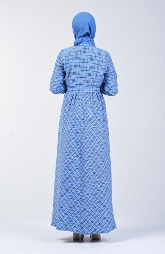 Ekose Desenli Kuşaklı Elbise 7028-02 Mavi