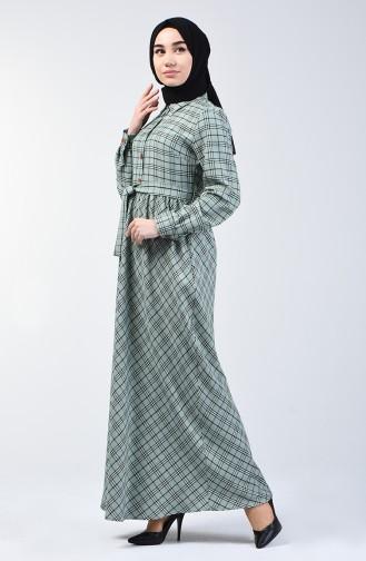 Plaid Patterned Belted Dress 7028-03   Almond Green 7028-03