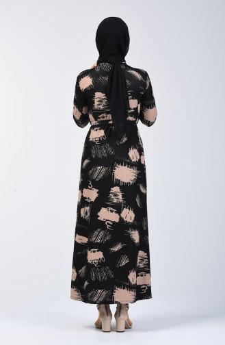 Desenli Kuşaklı Elbise 1406A-01 Siyah